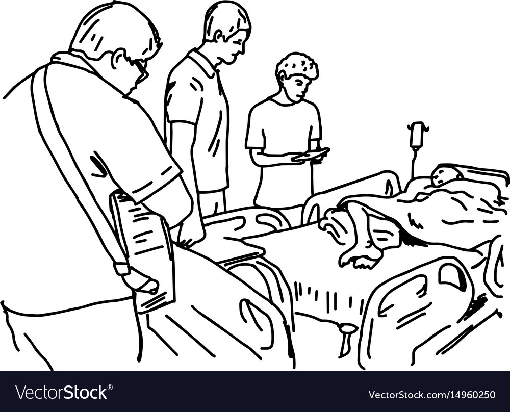 People visit patient in hospital