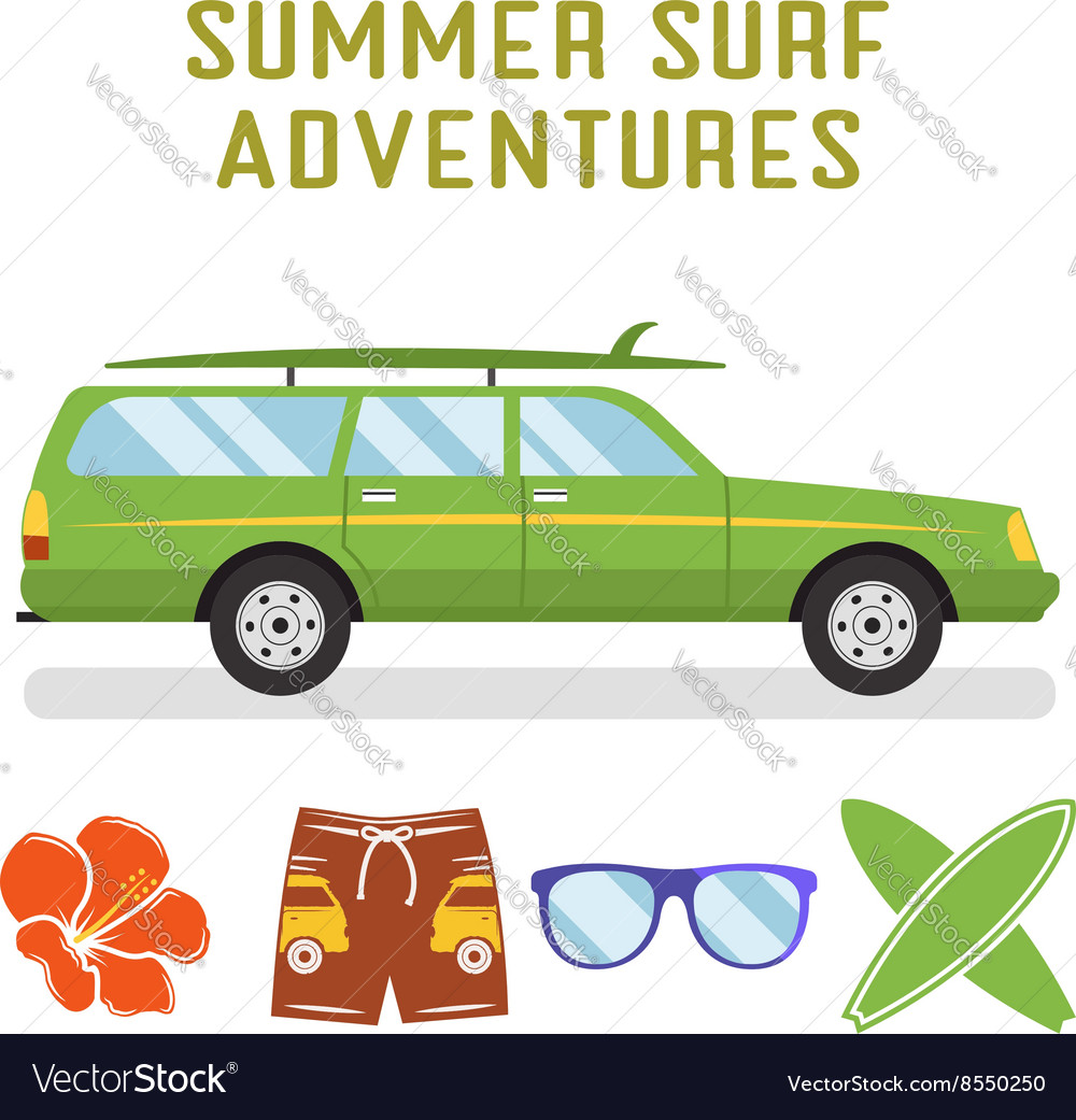 Retro flat surf car design and elements vector image