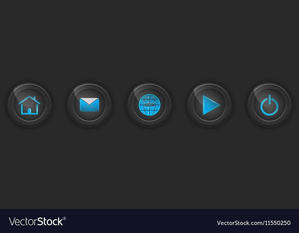 Set of dark buttons for web design