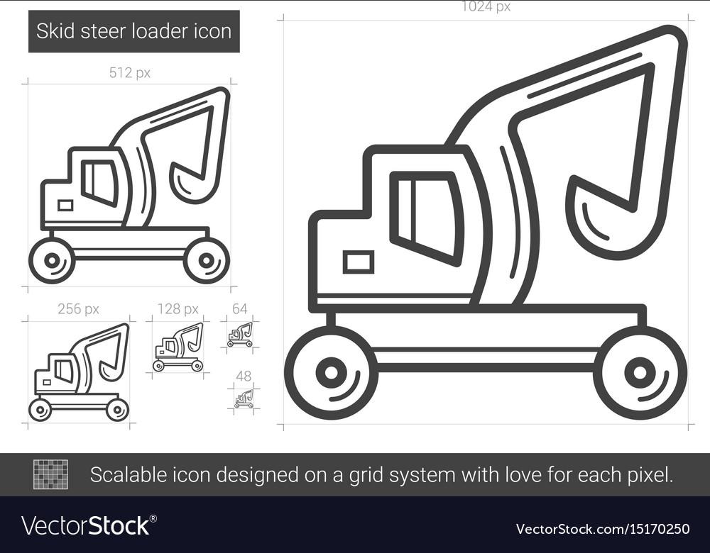 Skid steer loader line icon