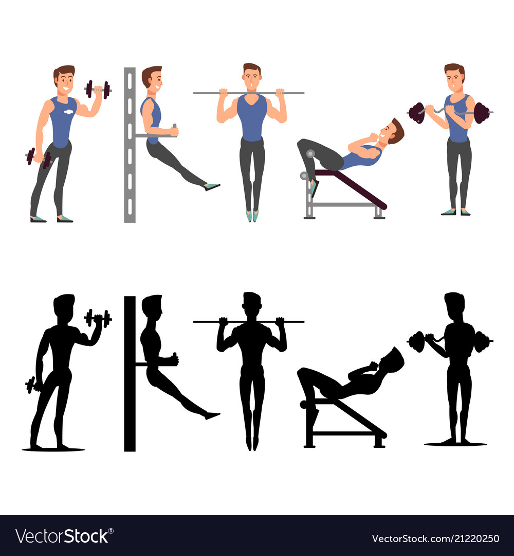 Sport man characters male fitness