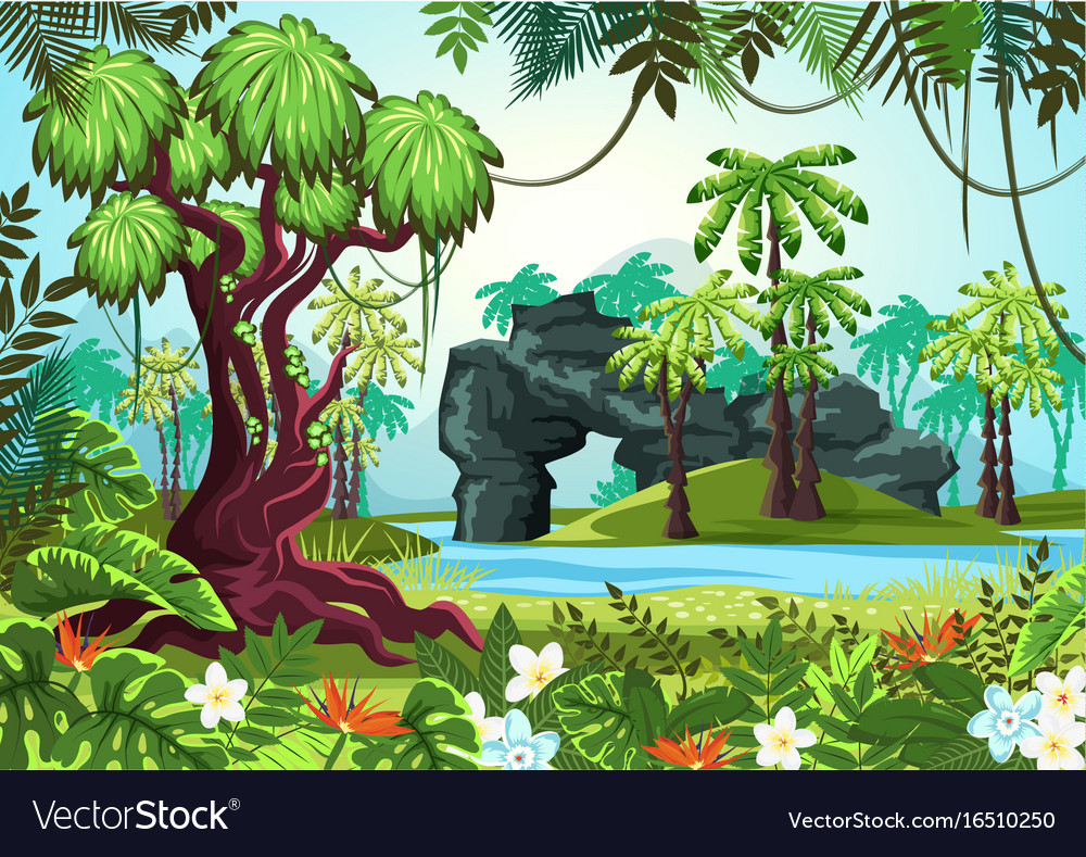 tropical wood jungle forest with palms and river vector image vectorstock