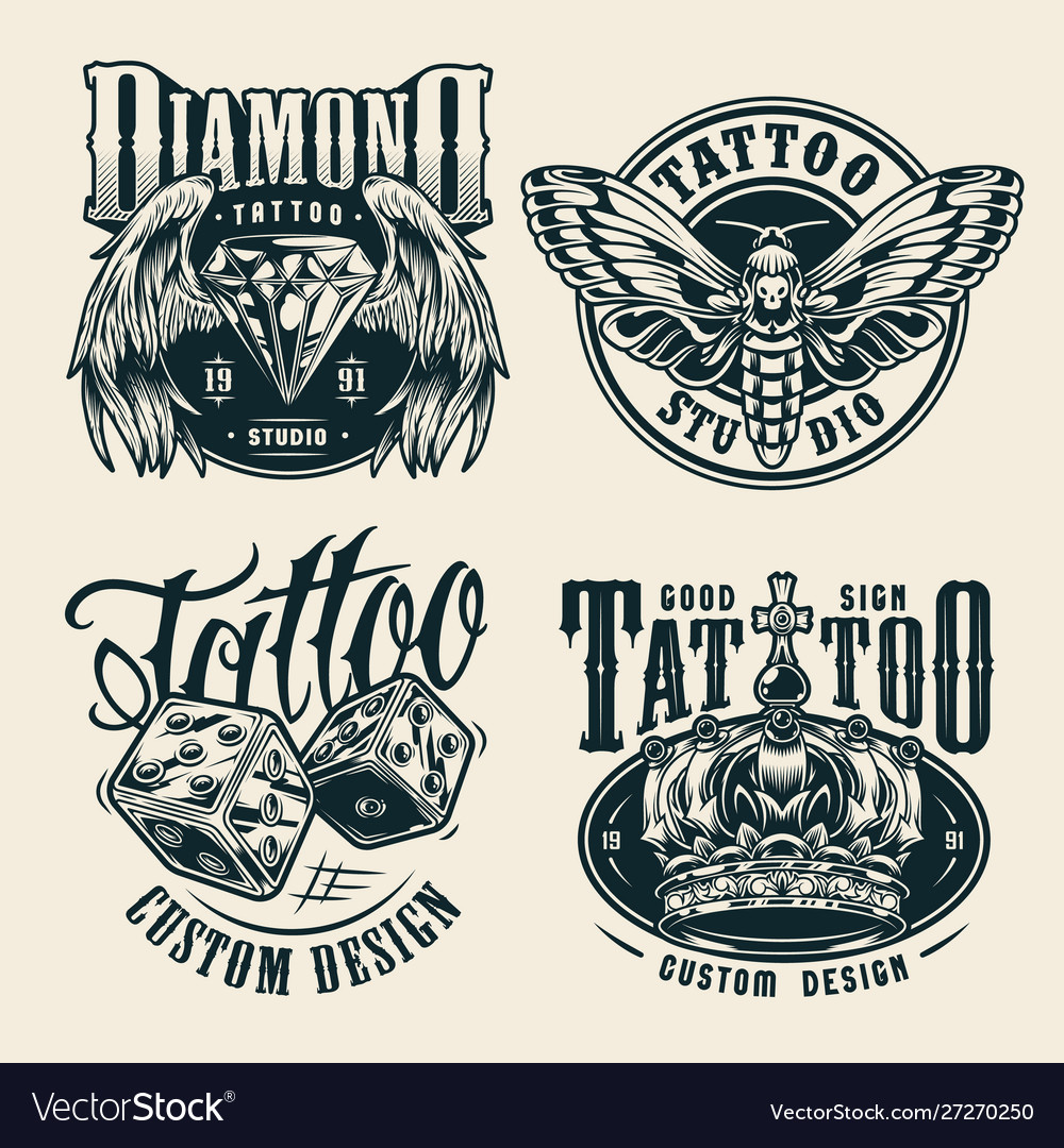 Vintage tattoo studio monochrome badges