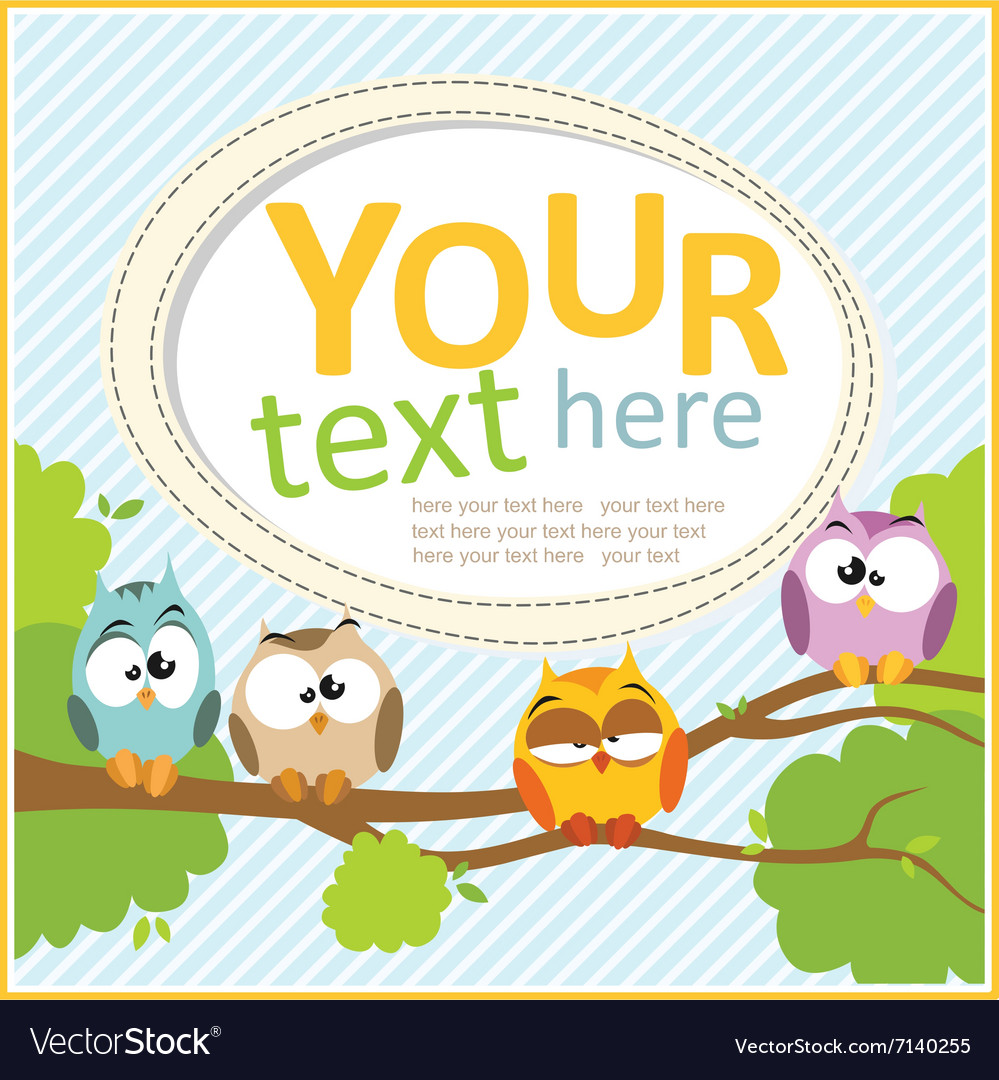Card with cartoon owls vector image