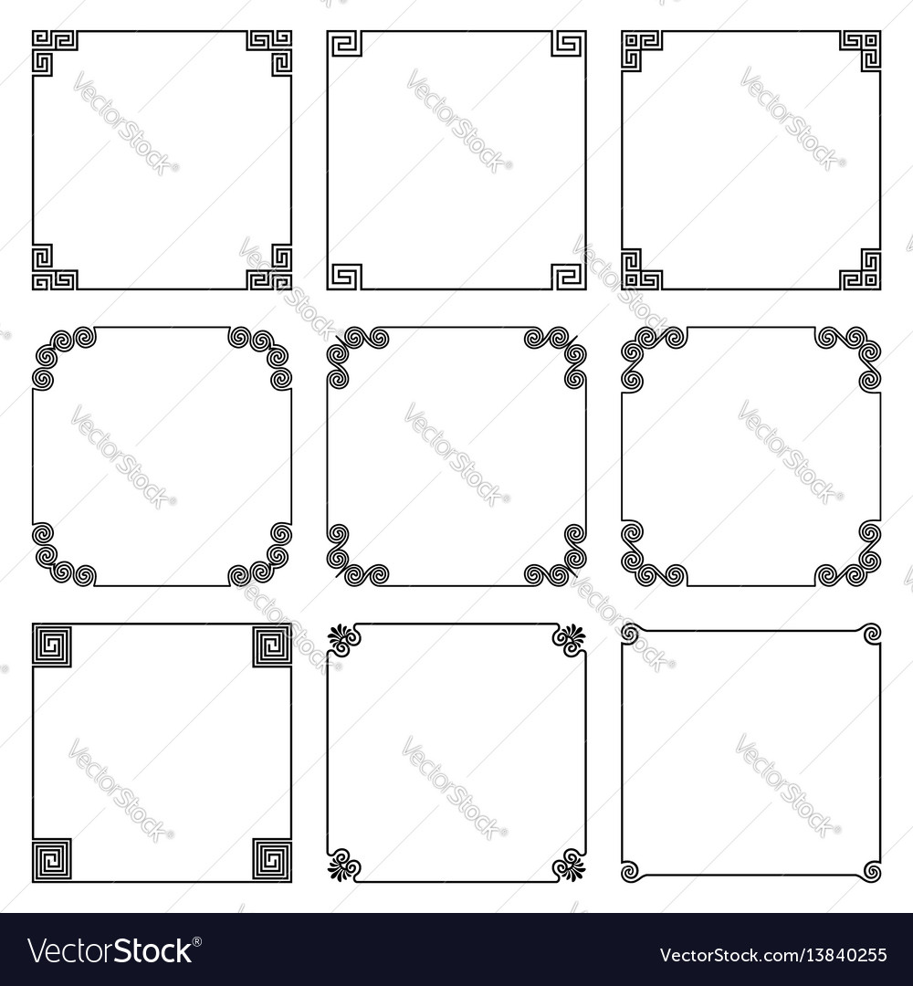 Collection of simple square frame with elements