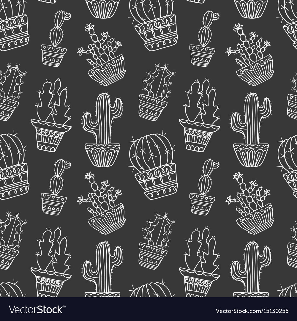 Cute hand drawn cactuse pattern