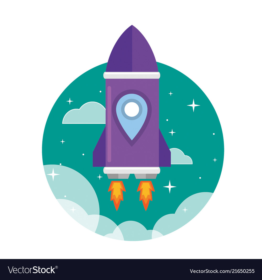 Flat purple rocket ship launched to the space