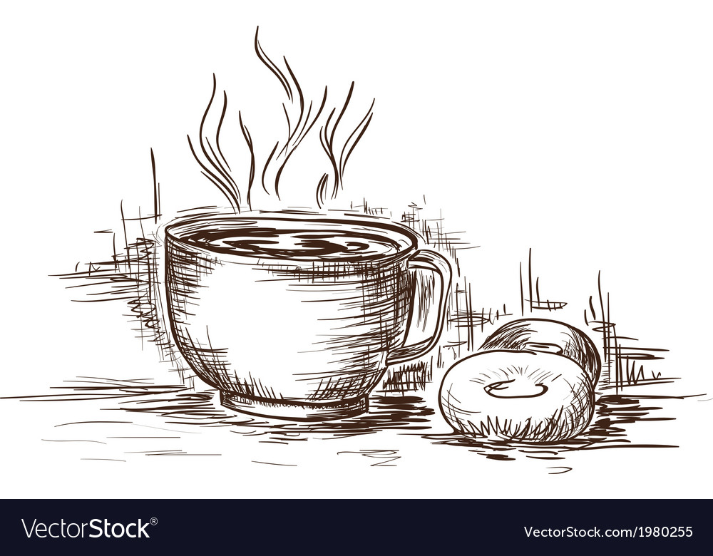 Hand drawn cup of coffee with doughnuts