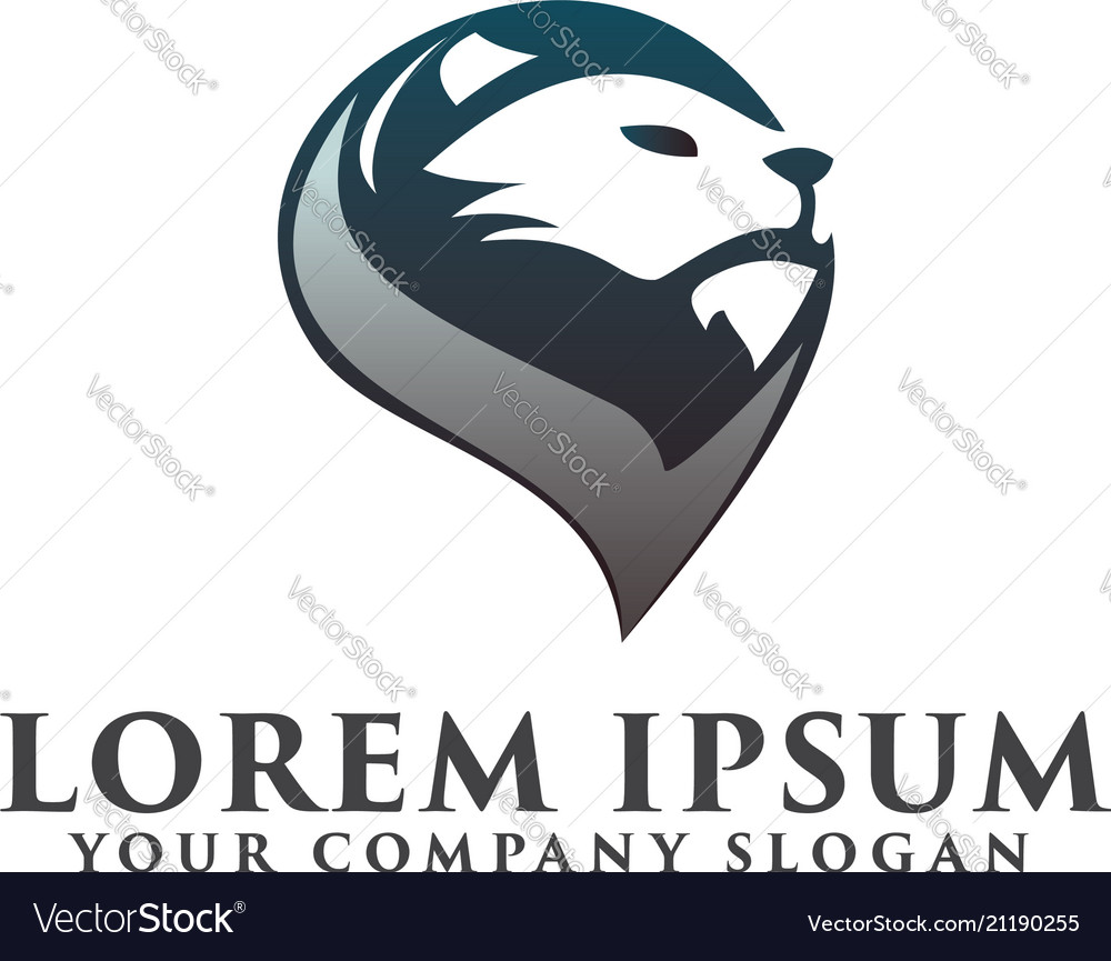 Head lion logo luxury logo design concept template