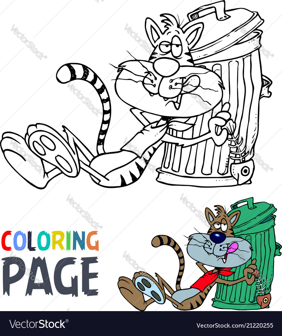 Lazy cat cartoon coloring page