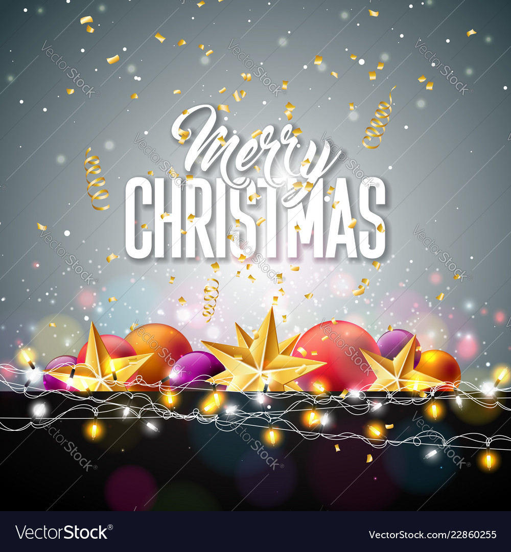 Merry christmas with gold star glass