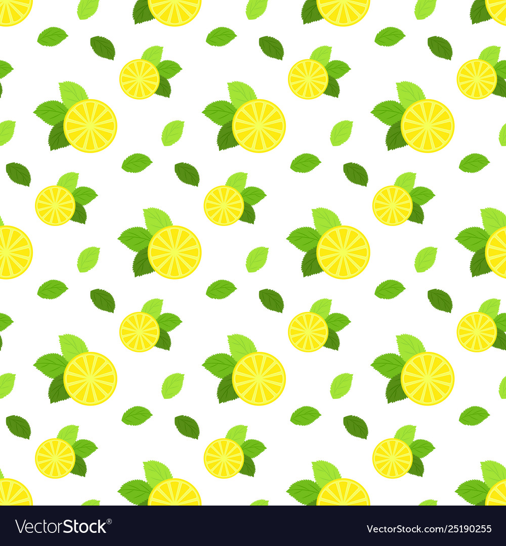 Seamless pattern with citrus fruits lemon and