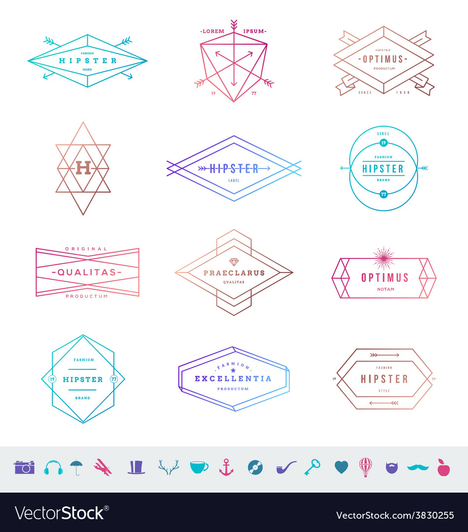 Set colored hipster line emblems and signs