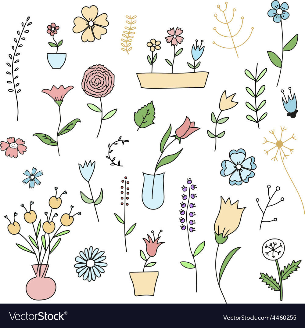 Set Of Spring Plants And Flowers Royalty Free Vector Image