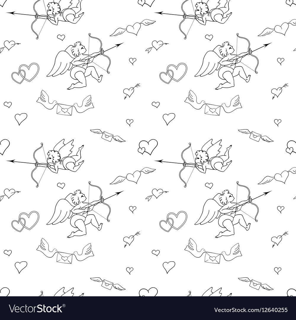 Valentines Day seamless pattern in doodle style