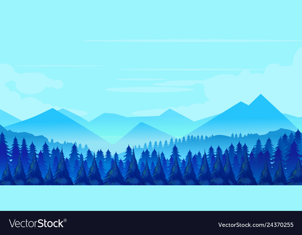 Winter mountains landscape with pines and hills