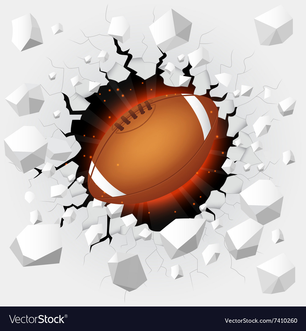 American football with cracked background