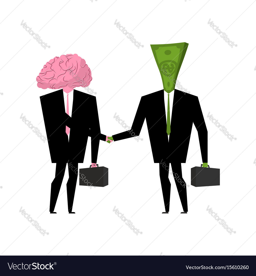 Brain and money business businessmen shaking