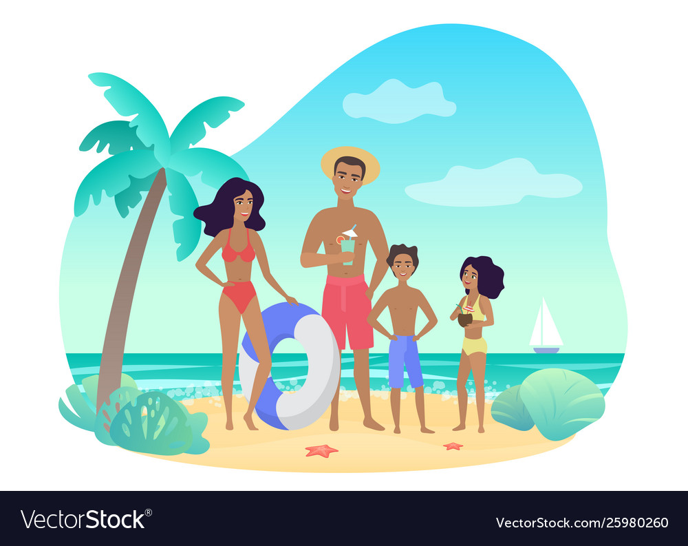 Cheerful parents and kids in swimwear standing