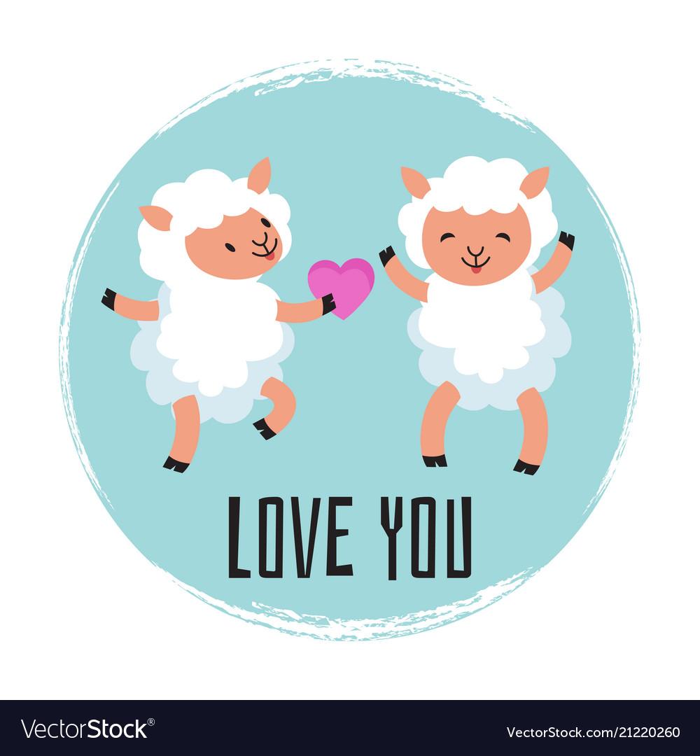 Cute cartoon sheeps in love