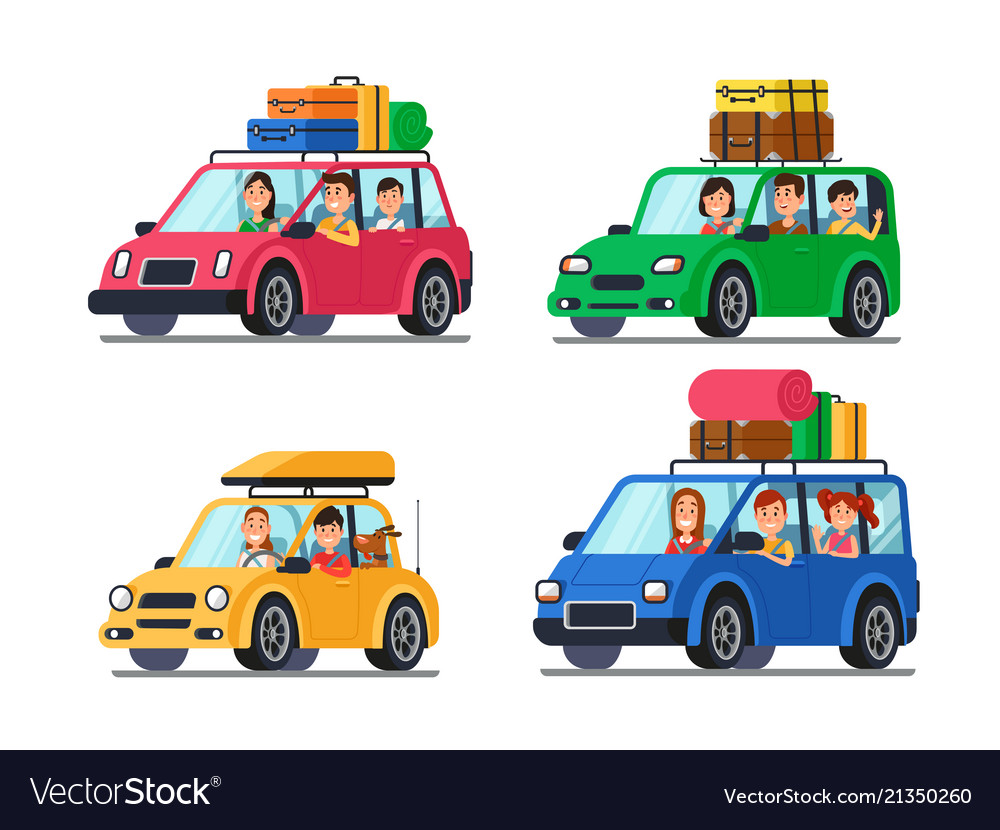 Family traveling cars happy people travel in car