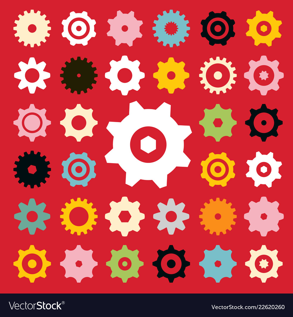 Flat cogs set on red background