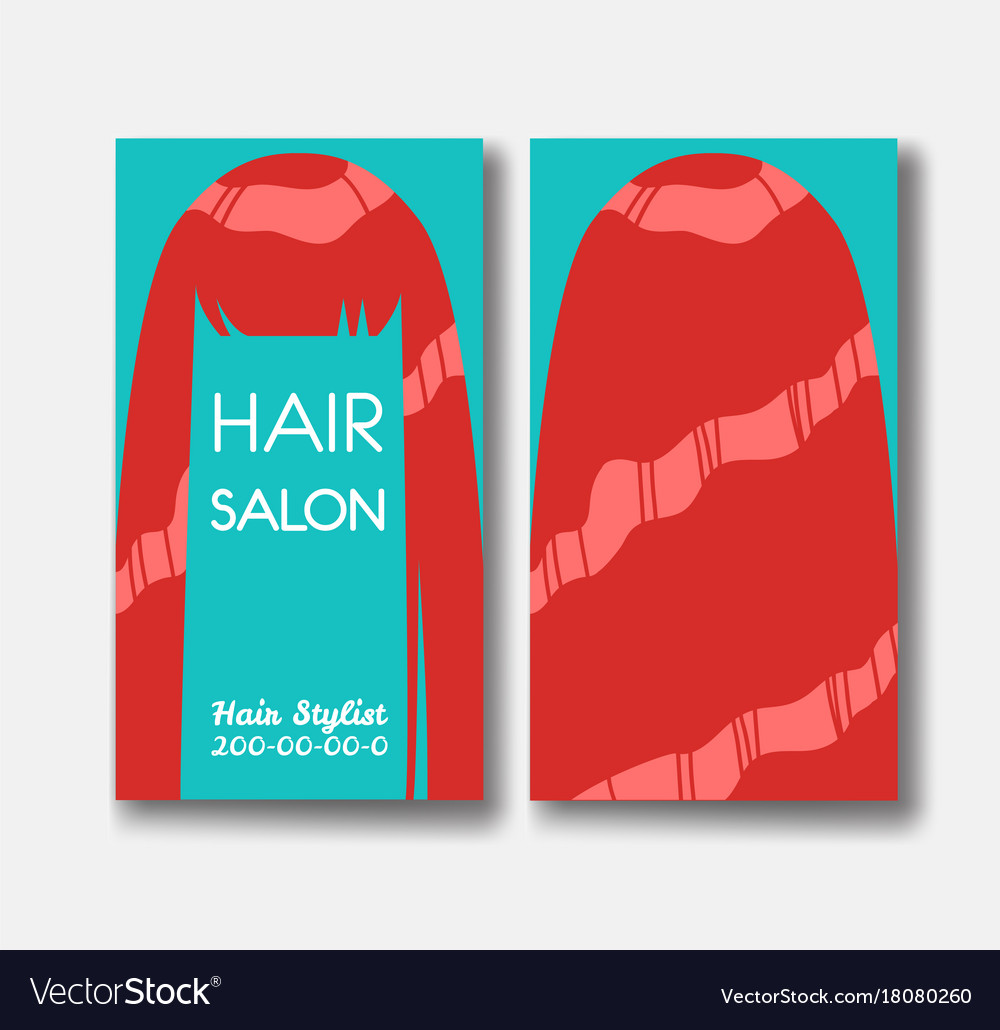 Hair salon business card templates with red hair vector image reheart Choice Image