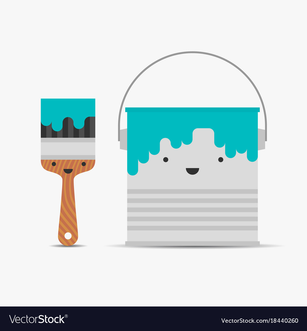 Paint brush and tin funny characters
