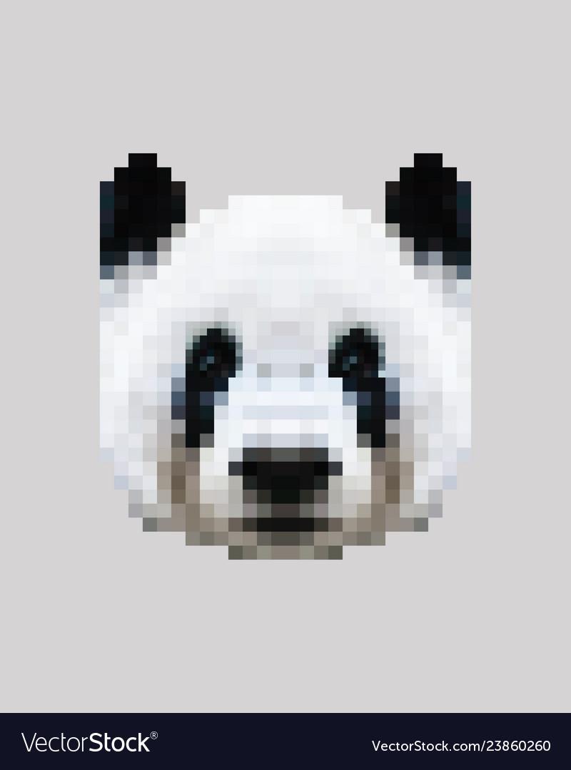 Pixel siberian panda face