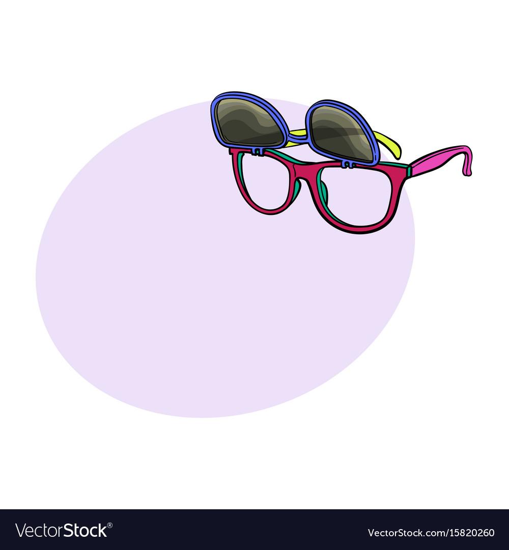 Retro wayfarer sunglasses with removable lenses