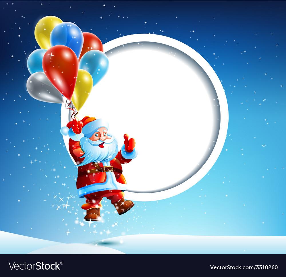 Santa Claus flies on a balloon