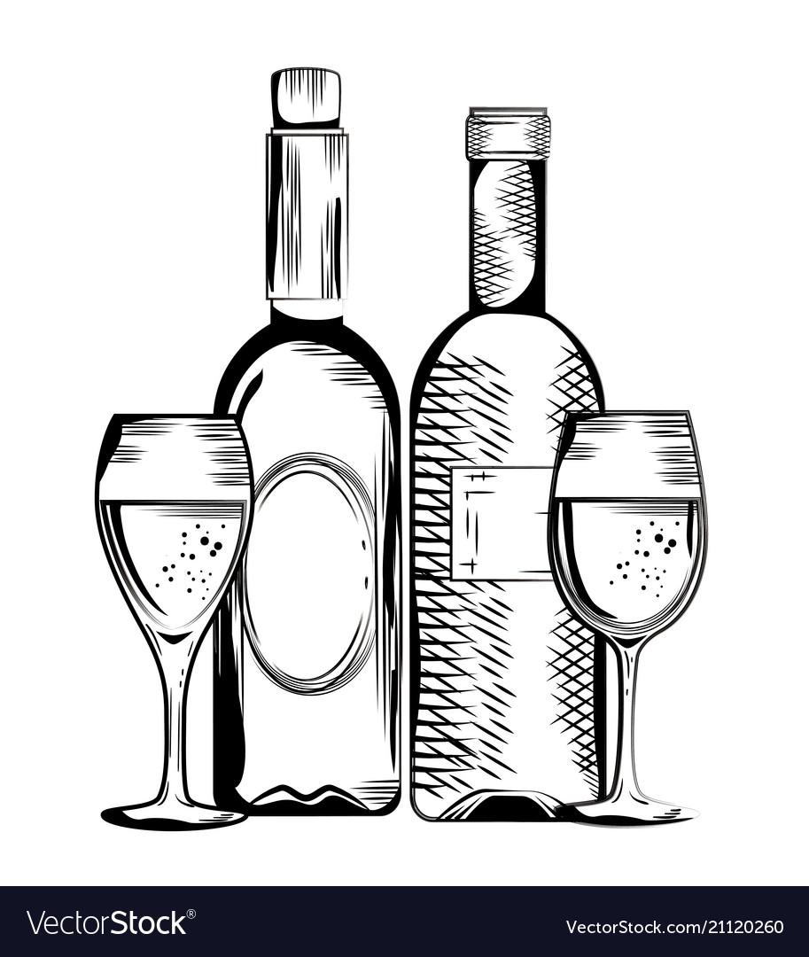 Set red wine bottles