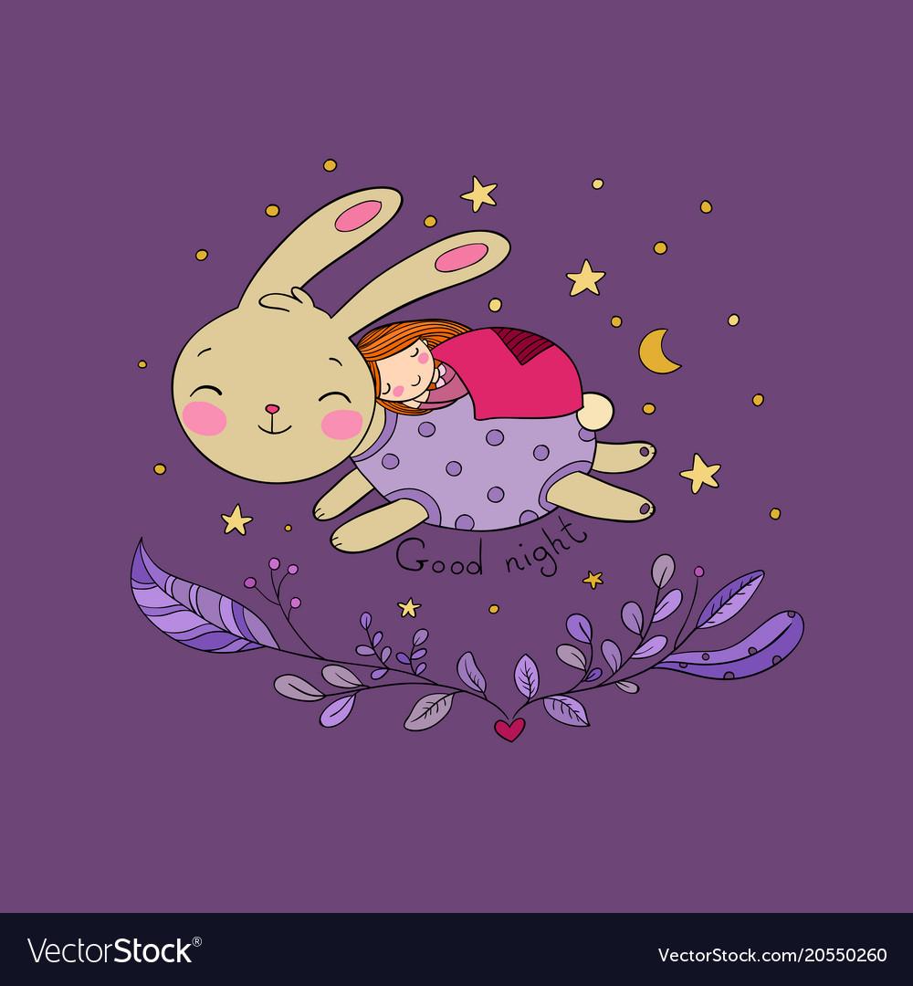Sleeping cartoon girl and bunny