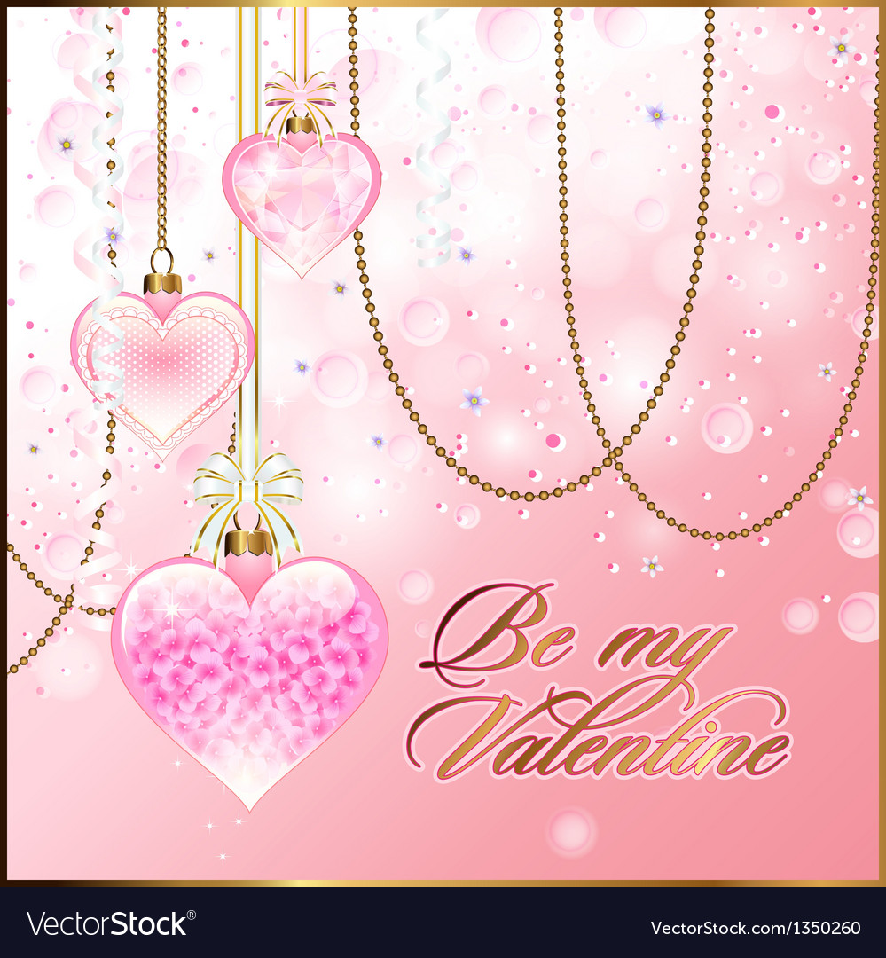 Valentine greetings with glassy hearts and golden