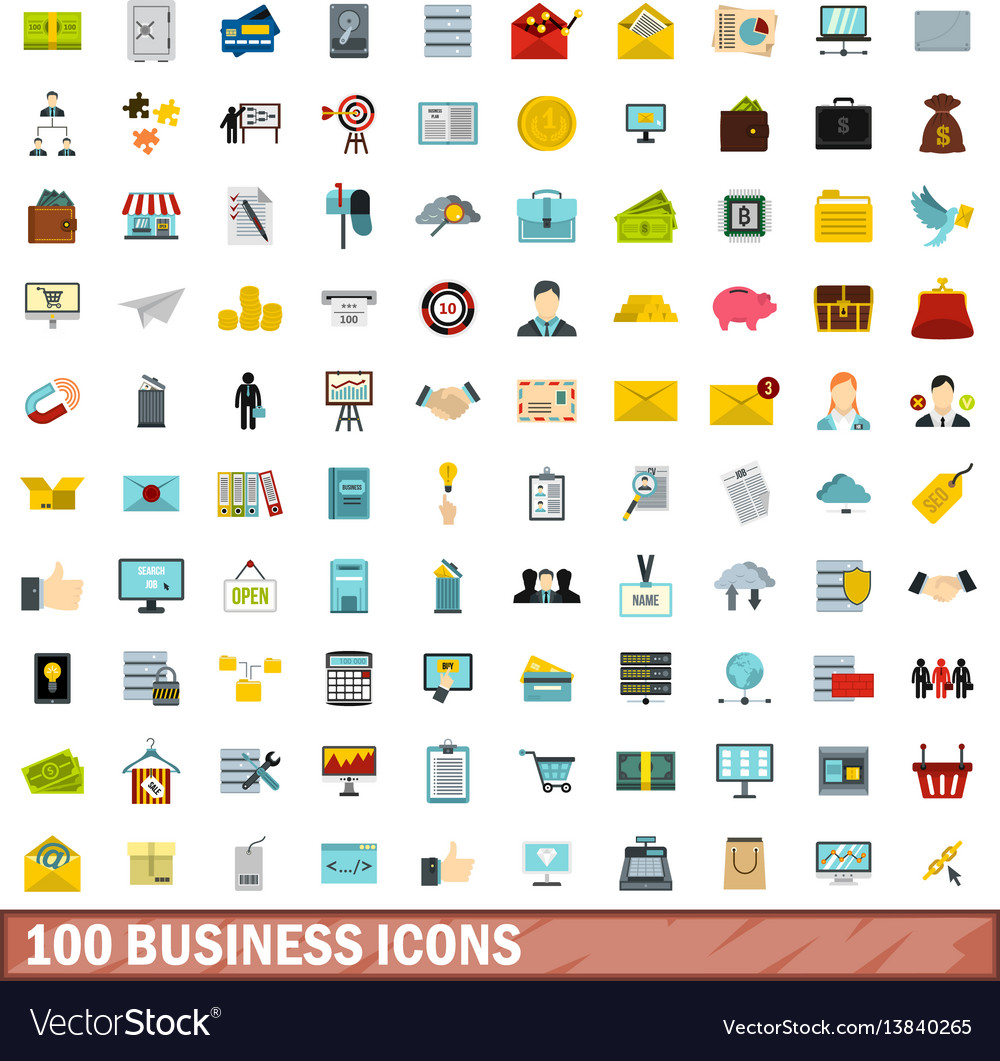 100 business icons set flat style
