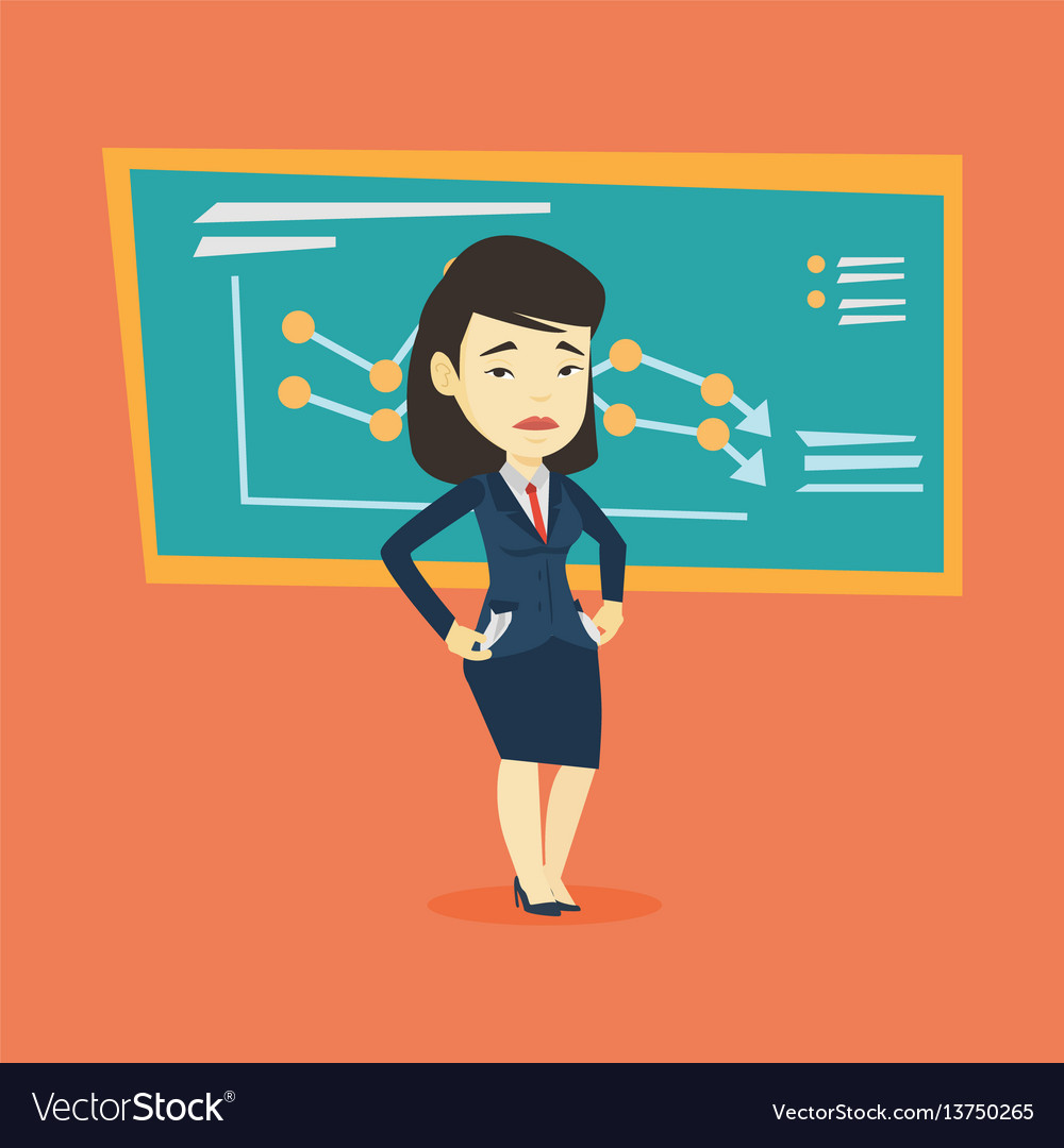 Bancrupt business woman vector image