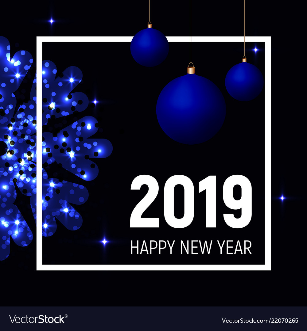 Blue balls and snowflake 2019 new year template