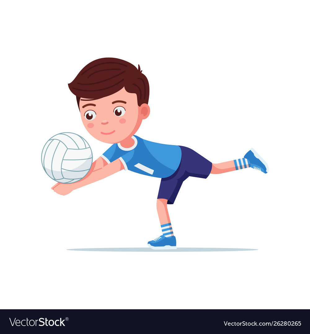 Boy volleyball player plays with ball