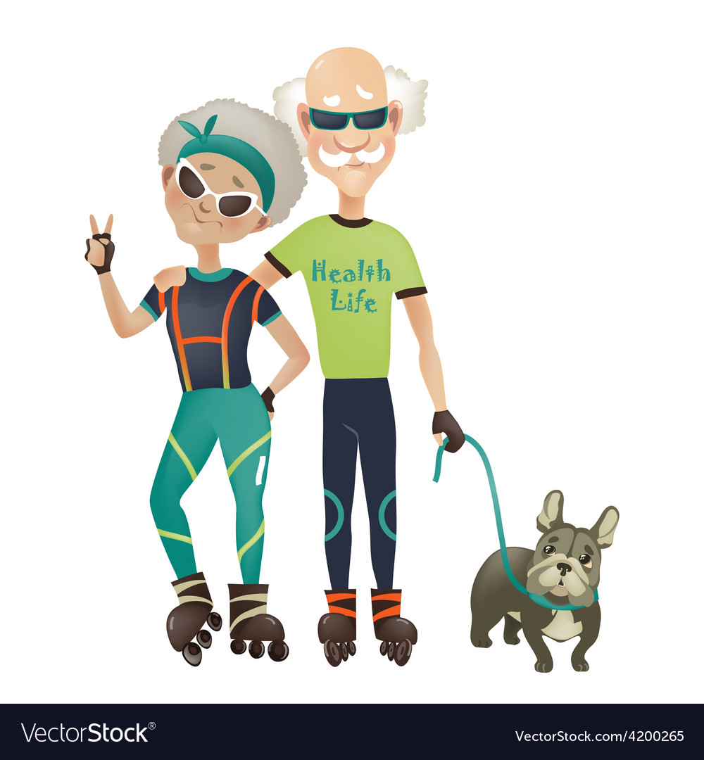Cartoon active old couple man and woman doing