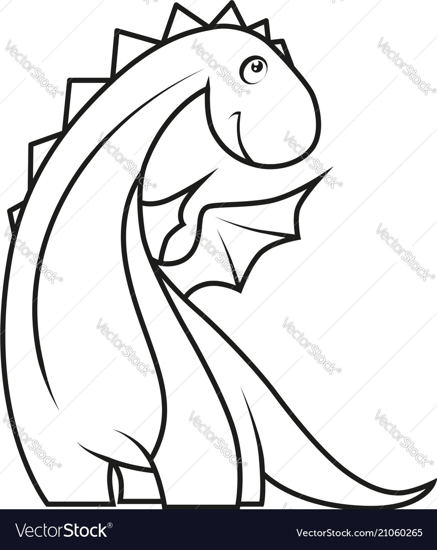 Coloring book cute little dragon