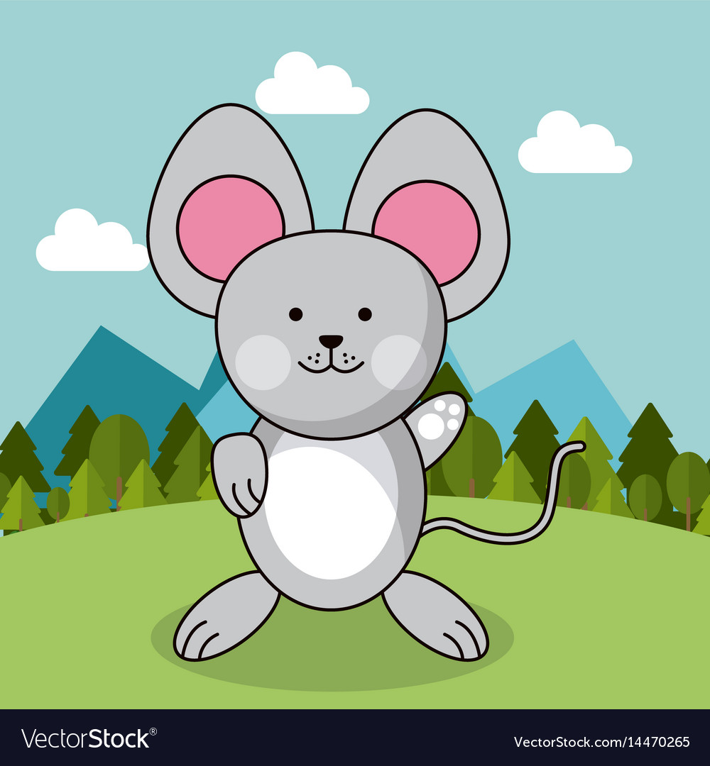 Cute mouse adorable landscape natural Royalty Free Vector