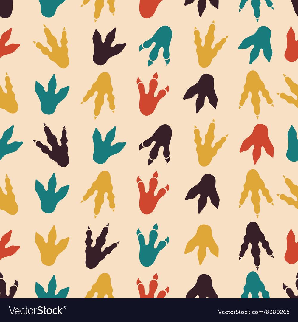 Dinosaur footprints seamless pattern vector image
