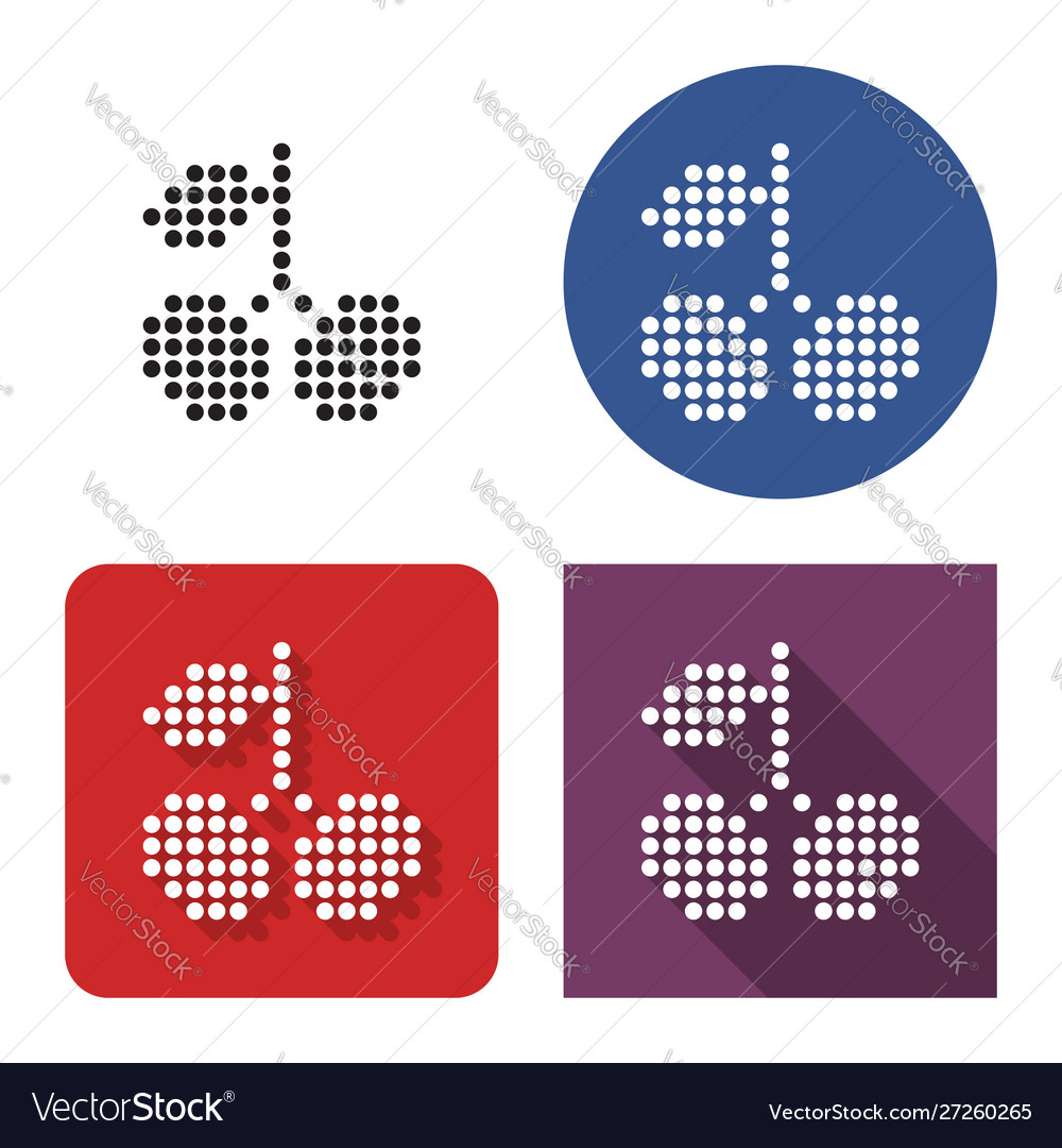 Dotted icon sweet cherries in four variants
