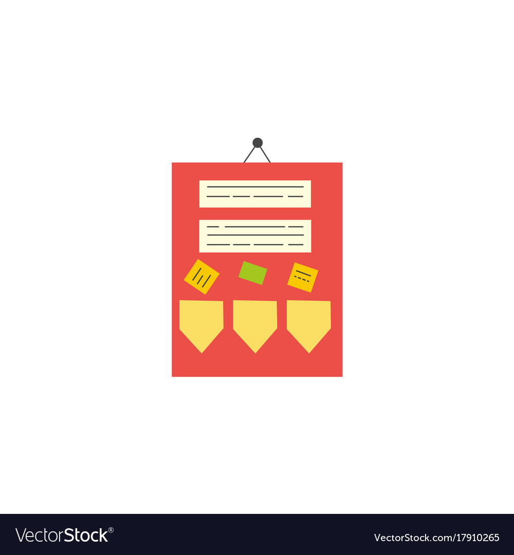 Flat style classroom announcement board icon