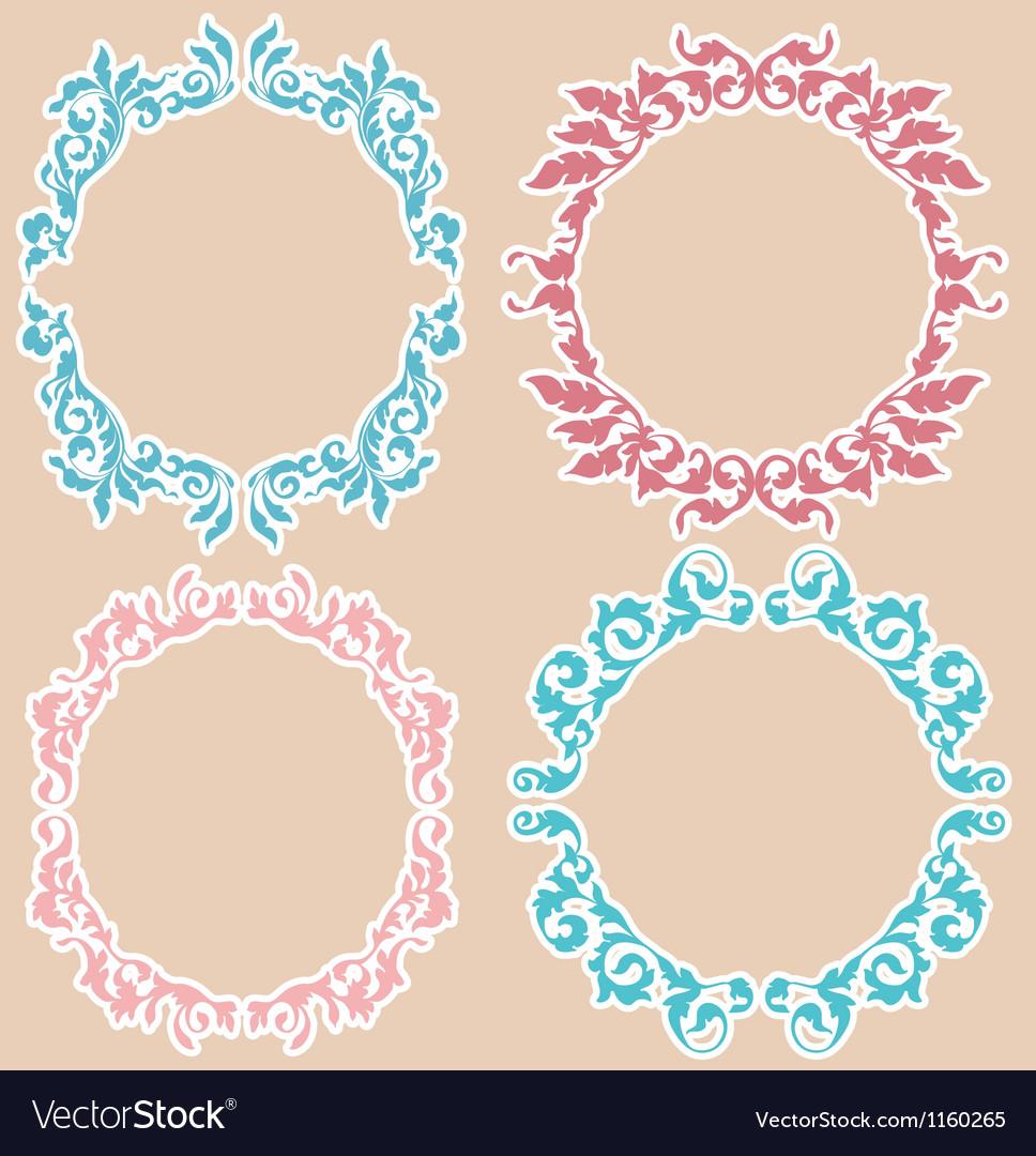 Four floral frames