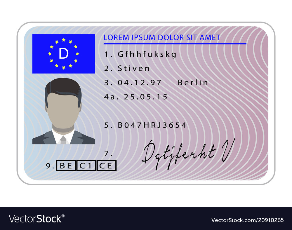 Germany driver license card cartoon style