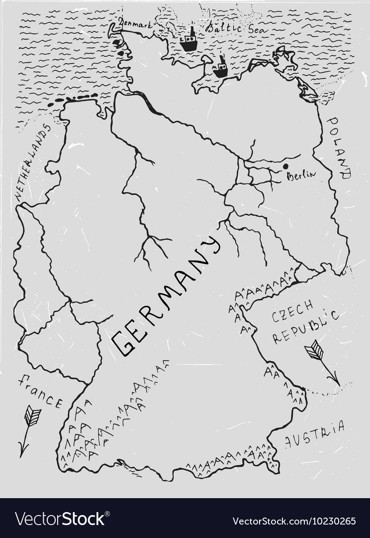 Germany Hand Drawn Map 02 A