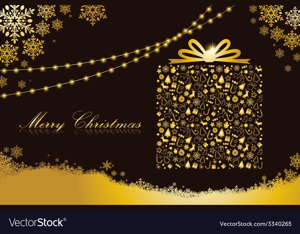 Merry Christmas gold gift box shape