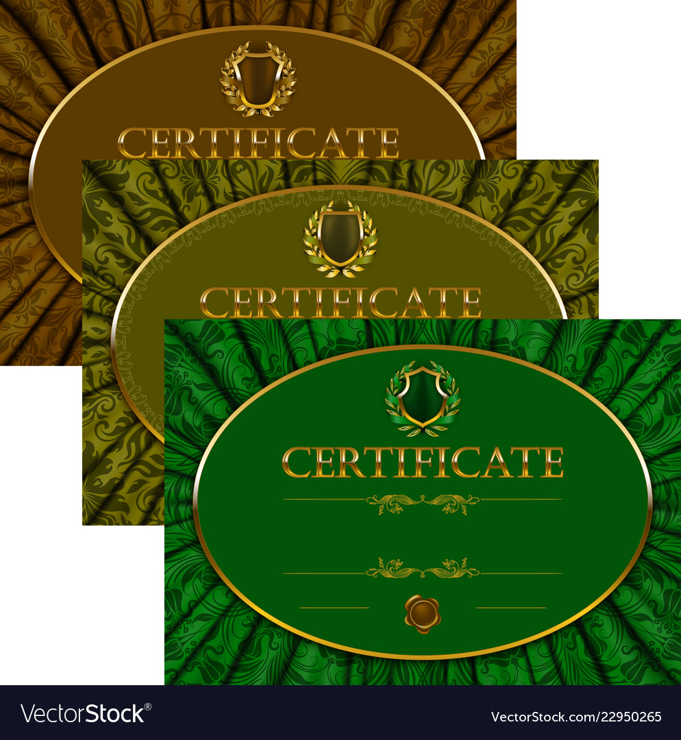 Set of elegant templates of diploma with lace