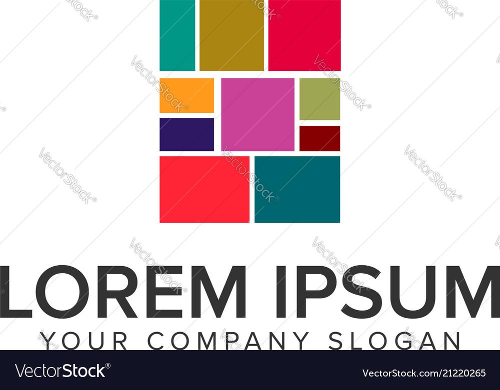 Square multicolor media logo design concept